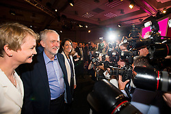 © Licensed to London News Pictures. 12/09/2015. London, UK. YVETTE COOPER, JEREMY CORBYN and LIZ KENDALL after the announcement that JEREMY CORBYN is the new Labour Party leader. The announcement of the new leader of the Labour Party at the QEII centre in Westminster, London on September 12, 2015. Former leader ED Miliband resigned after a heavy defeat at the last election. Photo credit: Ben Cawthra/LNP