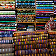 Woven fabrics for traditional dress of the Bhutanese people, Tailor shop Selphub Gyeltshen Tshongkhang, Thimphu, Bhutan, Asia