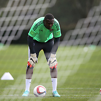 Goaltender Donovan Ricketts is seen during the first day of MLS soccer team practice for the Orlando City Soccer Club at Sylvan Lake Park on Friday, January 23, 2015 in Sanford,Florida. (AP Photo/Alex Menendez)