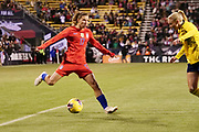 USA forward Tobin Heath (17) prepares to take a shot during an international friendly women's soccer match against Sweden, Thursday, Nov. 7, 2019, in Columbus, Ohio. USA defeated Sweden 3-2 . (Jason Whitman/Image of Sport)