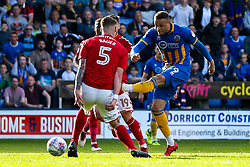 Carlton Morris of Shrewsbury Town scores a goal to make it 1-0 - Mandatory by-line: Robbie Stephenson/JMP - 13/05/2018 - FOOTBALL - Montgomery Waters Meadow - Shrewsbury, England - Shrewsbury Town v Charlton Athletic - Sky Bet League One Play-Off Semi Final
