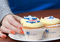Pippa Perriam who works in the Cuckoo's bakery taking a cupcakes.<br /> Cupcakes referendum photocall to take place. Cuckoo's bakery has been selling Yes, No and undecided cupcakes since March .<br /> Pako Mera/Universal News And Sport (Europe) 17/09/2014