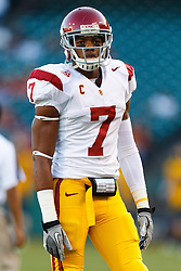 Oct 13, 2011; San Francisco CA, USA;  Southern California Trojans safety T.J. McDonald (7) warms up before the game against the California Golden Bears at AT&T Park.  Southern California defeated California 30-9. Mandatory Credit: Jason O. Watson-US PRESSWIRE