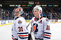 KELOWNA, BC - OCTOBER 12: Dylan Garand #31 and Connor Zary #18 of the Kamloops Blazers head to the dressing room after the win against the Kelowna Rockets at Prospera Place on October 12, 2019 in Kelowna, Canada. (Photo by Marissa Baecker/Shoot the Breeze)