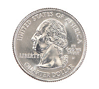 United States quarter 25 cent coin front on white background