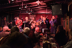 """Ralph"" Walter Nelson, Stanford retired radiation physics group professor and his bluegrass band, Wild Oats 'n Honey at final concert at Sam's BBQ in San Jose."