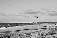 A big flies past the recently uncovered Cape May train tracks are visible near Higbee Beach and Cape May Point Saturday, December 03, 2016 in Cape May Point, New Jersey. (Photo by William Thomas Cain/Cain Images)