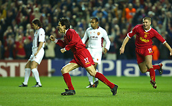 LIVERPOOL, ENGLAND - Tuesday, March 19, 2002: Liverpool's Jari Litmanen celebrates scoring the opening goal from the penalty spot against AS Roma after only six minutes during the UEFA Champions League Group B match at Anfield. Also Steven Gerrard. (Pic by David Rawcliffe/Propaganda)