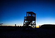 Lifeguard stand at dawn, Cape Cod, Massachusetts, USA