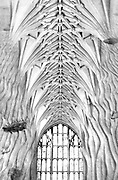 Natural Cathedral.  A double exposure created in the darkroom..The two images are a Gothic cathedral and the sandy bottom of.lake Tahoe.