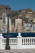 Balcony view of the Playa de Levante, Benidorm, Costa Blanca,Alicante, Spain