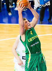 Paulius Vaitiekunas of Lithuania during basketball match between National teams of Slovenia and Lithuania in First Round of U20 Men European Championship Slovenia 2012, on July 14, 2012 in Domzale, Slovenia. Slovenia defeated Lithuania 87-81. (Photo by Vid Ponikvar / Sportida.com)