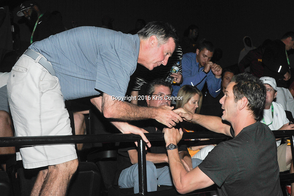 RICHMOND, VA - AUG 13: Redskins President Bruce Allen and directer Peter Berg attend a special screening for the Washington Redskins football team of Lions Gate Entertainment's new movie Deepwater Horizon at Bow Tie Cinema on August 13, 2016 in Richmond, Va. (Photo by Kris Connor for Lions Gate Entertainment)