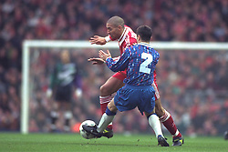 LIVERPOOL, ENGLAND - Saturday, January 6, 1996: Liverpool's Stan Collymore in action against Rochdale during the FA Cup 3rd Round match at Anfield. (Photo by David Rawcliffe/Propaganda)