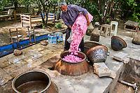 Iran, Province d'Ispahan, Kashan, destillation de roses pour la fabrication de l'eau de rose, petite distillerie familiale, remplissage des cuves où les roses seront chauffées // Iran, Isfahan province, Kashan city, distillation of rose for the fabrication of the rose water