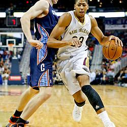 Nov 2, 2013; New Orleans, LA, USA; New Orleans Pelicans power forward Anthony Davis (23) drives past Charlotte Bobcats power forward Cody Zeller (40) during the first quarter of a game at New Orleans Arena. Mandatory Credit: Derick E. Hingle-USA TODAY Sports