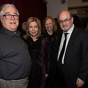 (l-r) Joel Koblentz, Helene Weiss, Cecila Currin with Salman Rushdie at the 'Still Waters in a Storm' benefit at The City Winery NYC. <br /> <br /> Still Waters in a Storm is a free school for children in the neighborhood of Bushwick, Brooklyn.Volunteers offer homework help and classes in reading, writing, violin, music composition, yoga and Latin, all free of charge to low-income families in the neighborhood.