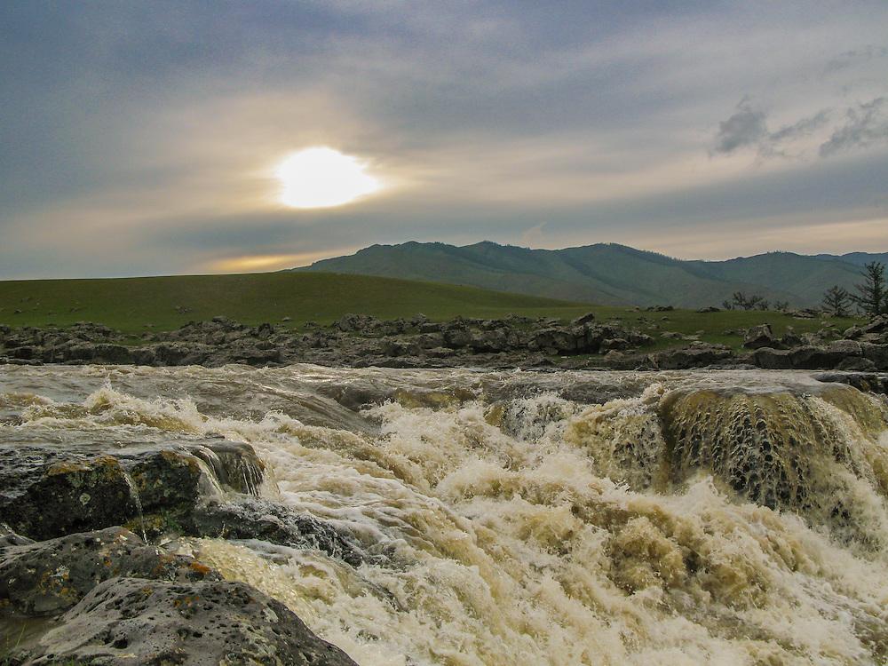 Orkhon waterfall at sunset, Mongolia.
