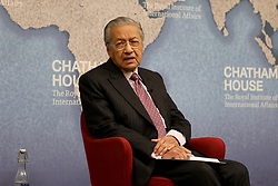 October 1, 2018 - London, United Kingdom - Mahathir Mohamad, prime minister of Malaysia, speaking at the Chatham House thinktank in London. (Credit Image: © Dominic Dudley/Pacific Press via ZUMA Wire)