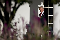 September 11, 2017 - Washington, District of Columbia, United States of America - U.S. President Donald Trump walks toward Oval Office of the White House after leading a moment of silence in remembrance of those lost during the September 11, 2001 terrorist attacks, in Washington, D.C., U.S., on Monday, Sept. 11, 2017. Trump is presiding over his first 9/11 commemoration on the 16th anniversary of the terrorist attacks that killed nearly 3,000 people when hijackers flew commercial airplanes into New Yorkís World Trade Center, the Pentagon and a field near Shanksville, Pennsylvania. Photographer: Andrew Harrer/BloombergUnited States President Donald J. Trump walks toward Oval Office of the White House after leading a moment of silence in remembrance of those lost during the September 11, 2001 terrorist attacks, in Washington, D.C., U.S., on Monday, September 11, 2017. Trump is presiding over his first 9/11 commemoration on the 16th anniversary of the terrorist attacks that killed nearly 3,000 people when hijackers flew commercial airplanes into New York's World Trade Center, the Pentagon and a field near Shanksville, Pennsylvania. .Credit: Andrew Harrer / Pool via CNP (Credit Image: © Andrew Harrer/CNP via ZUMA Wire)