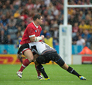 Leicester, Great Britain, Canadian No. 8 Araron CARPENTER tackled by, Paula KINIKINILAU.  during the Pool D game, Canada vs Romania.  2015 Rugby World Cup,  Venue, Leicester City Stadium, ENGLAND.  Tuesday    06/10/2015.   [Mandatory Credit; Peter Spurrier/Intersport-images]