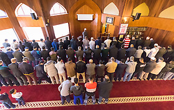 Finsbury Park Mosque, London, February 7th 2016. Local residents are afforded the opportunity of watching Muslim men at prayer as part of a Visit My Mosque initiative by the Muslim Council of Britain to show non-Muslims &ldquo;how Muslims connect to God, connect to communities and to neighbours around them&rdquo;.<br /> . ///FOR LICENCING CONTACT: paul@pauldaveycreative.co.uk TEL:+44 (0) 7966 016 296 or +44 (0) 20 8969 6875. &copy;2015 Paul R Davey. All rights reserved.