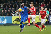 AFC Wimbledon striker Tom Elliott (9) screening the ball from Charlton Athletic defender Patrick Bauer (5)during the EFL Sky Bet League 1 match between AFC Wimbledon and Charlton Athletic at the Cherry Red Records Stadium, Kingston, England on 11 February 2017. Photo by Matthew Redman.