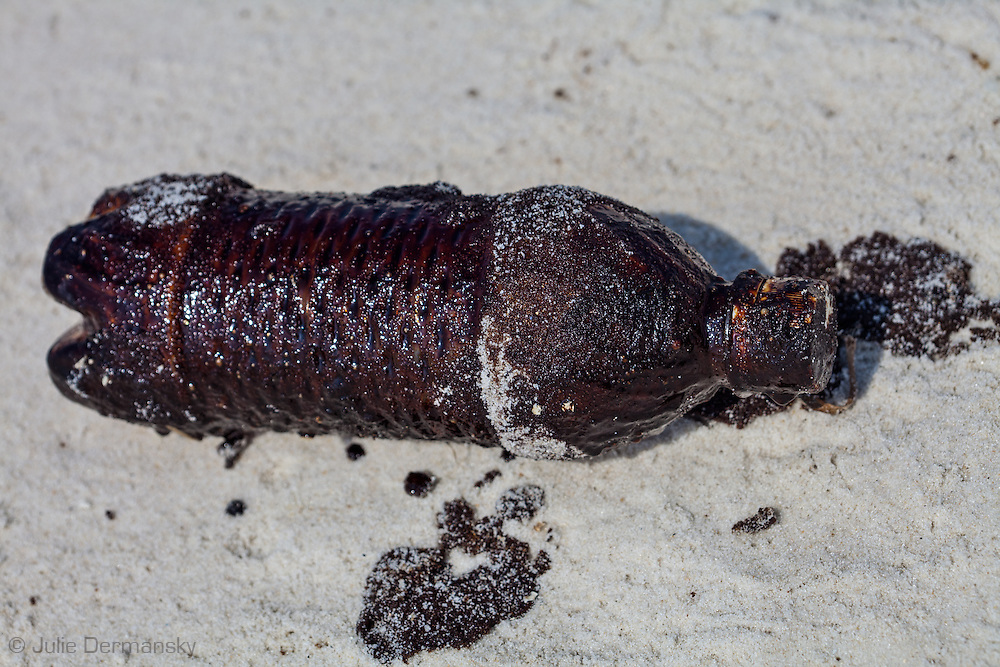 Plastic water bottle on the beach at Bon Secour National Wildlife Refuge in Alabama coverred in BP oil that washed up on the beach.on June 12, 2010