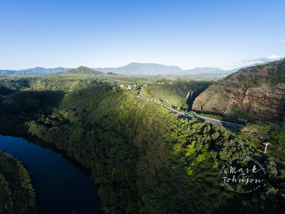 Aerial photograph of the Wailua River, Opaekaa Falls & the Sleeping Giant (Mt Nounou), Kauai, Hawaii