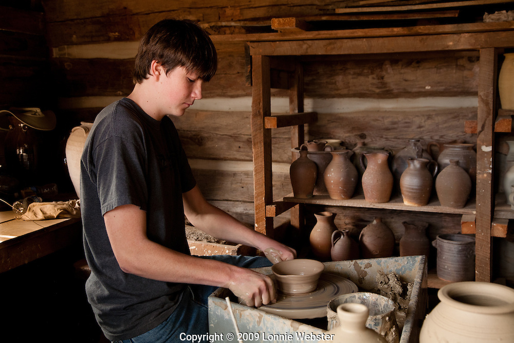 Pottery  being thrown and shaped at Hart Square In the foothills Of NC Mountains near Hickory, NC