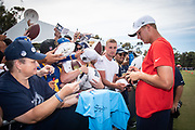 Aug 4, 2019, Irvine, CA, USA; Los Angeles Rams quarterback Jared Goff signs autographs for fans during training camp at UC Irvine. (Ed Ruvalcaba/Image of Sport)