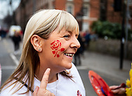 An England fan having face paint applied<br /> <br /> Photographer Simon King/Replay Images<br /> <br /> Six Nations Round 3 - Wales v England - Saturday 23rd February 2019 - Principality Stadium - Cardiff<br /> <br /> World Copyright © Replay Images . All rights reserved. info@replayimages.co.uk - http://replayimages.co.uk