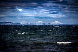 The Forth bridges as seen from the beach at Longniddry.