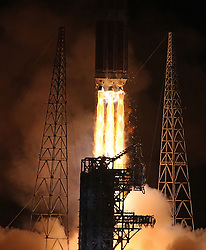 A United Launch Alliance Delta IV Heavy slips into the night sky lifting off Sunday, Aug. 12, 2018 from Space Launch Complex-37 at Cape Canaveral, Fla. The Delta IV Heavy rocket will take NASA's Parker Solar Probe to an interplanetary trajectory to the sun. Photo by Red Huber/Orlando Sentinel/TNS/ABACAPRESS.COM