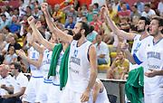 DESCRIZIONE : Skopje torneo internazionale Italia - Macedonia<br /> GIOCATORE : esultanza italia<br /> CATEGORIA : nazionale maschile senior A <br /> GARA : Skopje torneo internazionale Italia - Macedonia <br /> DATA : 26/07/2014 <br /> AUTORE : Agenzia Ciamillo-Castoria