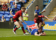 Ben Currie of Warrington Wolves scores the try against Bradford Bulls during the Ladbrokes Challenge Cup match at the Halliwell Jones Stadium, Warrington<br /> Picture by Stephen Gaunt/Focus Images Ltd +447904 833202<br /> 21/04/2018