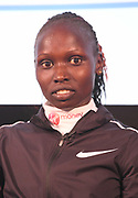 Vivian Cheruiyot (KEN) at press conference after winning the women's race in 2:18:31 in the London Marathon in London, Sunday, April 22, 2018. (Jiro Mochizuki/Image of Sport)