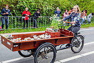 22-4-2017 LISSE - Prams and flower-decorated cars pass during the annual Flower Corso of the Bulbs region in the Keukenhof. The theme is Dutch Design this year. COPYRUGHT ROBIN UTRECHT/jepser drenth<br /> 22-4-2017 LISSE - Praalwagens en met bloemen versierde wagens passeren tijdens het jaarlijkse Bloemencorso van de Bollenstreek in de Keukenhof. Het thema is dit jaar Dutch Design.  COPYRUGHT ROBIN UTRECHT jesper drenth