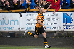 Alloa Athletic's Greg Spence cele scoring their third goal. Athletic 4 v 3 Brechin City (Brechin won 5-4 on penalties), Ladbrokes Championship Play-Off 2nd Leg at Alloa Athletic's home ground, Recreation Park, Alloa.