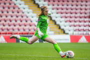Bristol City Goalkeeper Sophie Baggaley (1) gets the ball back into play during the FA Women's Super League match between Manchester United Women and Bristol City Women at Leigh Sports Village, Leigh, United Kingdom on 5 January 2020.
