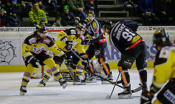 05.02.2016, Messestadion, Dornbirn, AUT, EBEL, Dornbirner Eishockey Club vs UPC Vienna Capitals, 50. Runde, im Bild v.l. Rafael Rotter, (UPC Vienna Capitals #06), Philippe Lakos, (UPC Vienna Capitals #04) Marek Zaprapan, (Dornbirner Eishockey Club, #08) und Martin Grabher Meier, (Dornbirner Eishockey Club, #91)// during the Erste Bank Icehockey League 50th round match between Dornbirner Eishockey Club and UPC Vienna Capitals at the Messestadion in Dornbirn, Austria on 2016/02/05, EXPA Pictures © 2016, PhotoCredit: EXPA/ Peter Rinderer