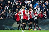 ROTTERDAM, Feyenoord - PSV, voetbal Eredivisie, seizoen 2013-2014, 01-12-2013, Stadion de Kuip, Feyenoord viert de 2-1 van Feyenoord speler Graziano Pelle (2R).