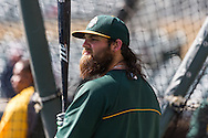 Derek Norris #36 of the Oakland Athletics warms up during batting practice before a game against the Minnesota Twins on April 9, 2014 at Target Field in Minneapolis, Minnesota.  The Athletics defeated the Twins 7 to 4.  Photo by Ben Krause