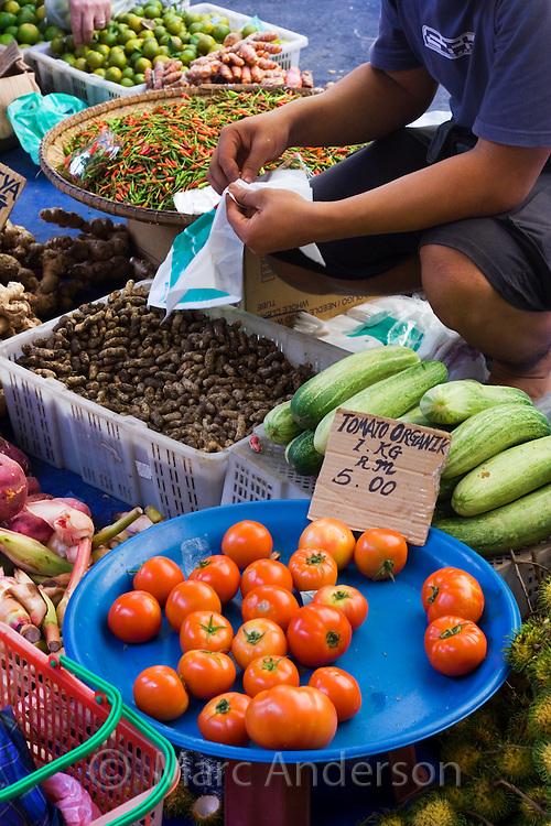 Fruit and vegetables at a market, Kota Kinabalu, Sabah, Malaysia..