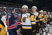 REGINA, SK - MAY 25: The Regina Pats shake hands with the Hamilton Bulldogs at the Brandt Centre on May 25, 2018 in Regina, Canada. (Photo by Marissa Baecker/CHL Images)