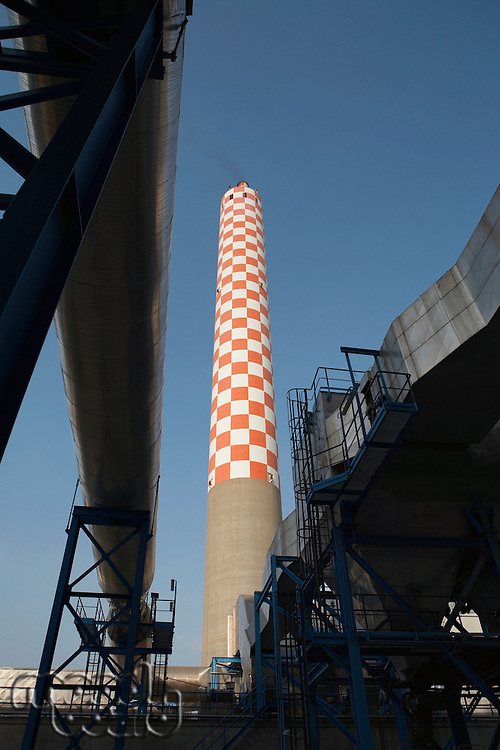 Oil fired power station main flue taking waste gases to chimney