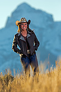 Kelly, WY - October 28, 2014: Desiree Bridges, Miss Rodeo Wyoming 2014 at home in Teton County.