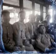 blurry group photo with students in uniform Japan ca 1940s