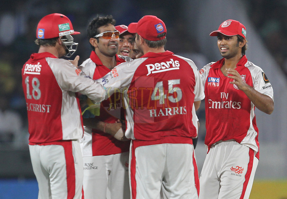 KXIP celebrates wicket of Shikhar Dhawan during match 15 of the Indian Premier League ( IPL ) between the Deccan Chargers and the Kings XI Punjab held at the Rajiv Gandhi International Cricket Stadium in Hyderabad on the 16th April 2011...Photo by Prashant Bhoot/BCCI/SPORTZPICS..