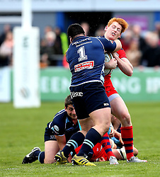 Jack Tovey outside centre for Bristol Rugby is tackled by Camilo Parilli-Ocampo loosehead prop for Bedford Blues - Mandatory by-line: Robbie Stephenson/JMP - 23/04/2016 - RUGBY - Goldrington Road - Bedford, England - Bedford Blues v Bristol Rugby - Greene King IPA Championship